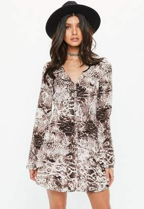 Missguided Brown snake print button down flared sleeve skater dress