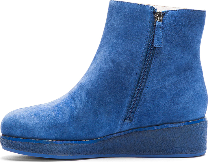 Kenzo Blue Suede Tiger Embossed Daffy Boots