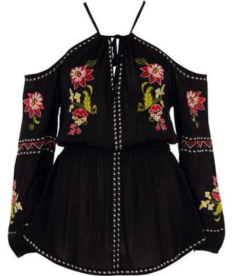 River IslandRiver Island Womens Black floral embroidered cold shoulder top