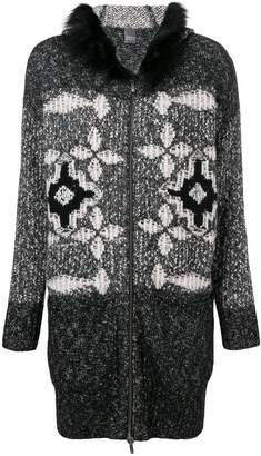 Lorena Antoniazzi fox fur trim knitted cardi-coat
