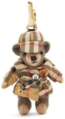 Burberry Thomas Bear House-checked cashmere keyring