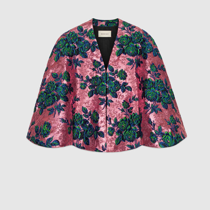 Floral brocade cape