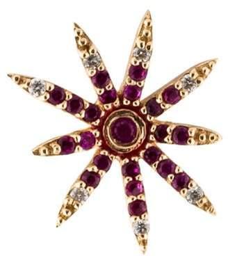 Alison Lou 14K Pink Sapphire & Diamond Firework Stud Earring