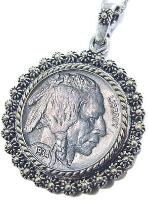 """Buffalo David Bitton American Coin Treasures Nickel Silvertone Blossom Pendant 24"""" Chain"""