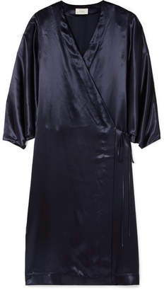 The Row Impu Satin Wrap Coat - Indigo