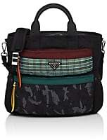 Prada Men's Plaid-Pocket Leather-Trimmed Tote Bag-Black