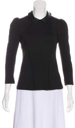 Kymerah Leather-Trimmed Long Sleeve Top