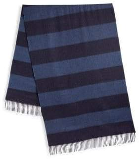 Ralph Lauren Purple Label Stripe Cashmere Fringe Scarf