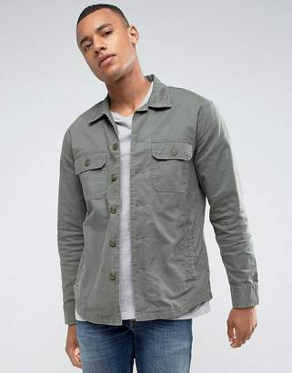 Abercrombie & Fitch Military Two Pocket Overshirt In Khaki
