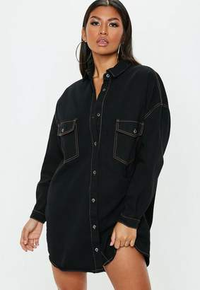 Missguided Petite Black Contrast Stitch Oversized Denim Shirt Dress