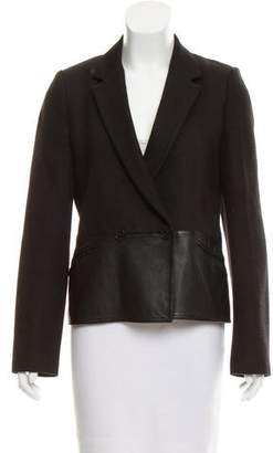Alexander Wang Wool-Blend Leather-Trimmed Blazer