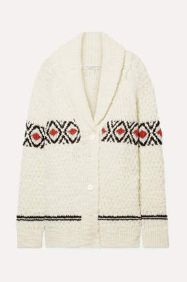 Philosophy di Lorenzo Serafini Oversized Intarsia Wool Cardigan - Cream