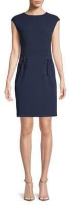 Vince Camuto Cap Sleeve Side Lace-Up Crepe Ponte Dress