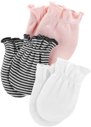 Carter's Baby Girl 3-Pack Solid & Print Mitts