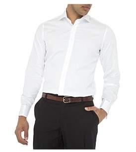 Geoffrey Beene Madison Semi Solid Double Cuff Slim Fit Shirt