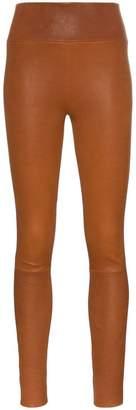 Sprwmn brown high waisted leather leggings