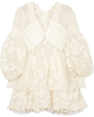 Zimmermann Pompom-embellished Paneled Cotton And Silk-blend Guipure Lace Mini Dress - Ivory