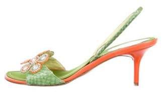 René Caovilla Snakeskin Slingback Sandals orange René Caovilla Snakeskin Slingback Sandals