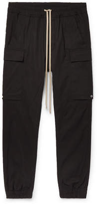 Rick Owens Black Slim-fit Tapered Stretch-cotton Drawstring Cargo Trousers - Black