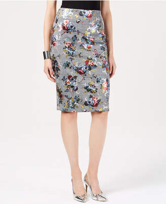 Thalia Sodi Metallic-Floral Plaid Pencil Skirt, Created for Macy's