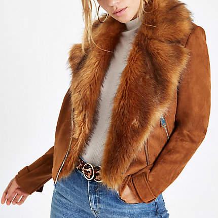 Womens Brown faux suede fur trim biker jacket