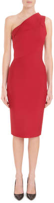 Roland Mouret One-Shoulder Sleeveless Fitted Knee-Length Cocktail Dress