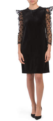 Three-quarter Illusion Sleeve Dress
