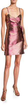 Parker Black Rita Metallic Spaghetti-Strap Mini Dress with Side Bow