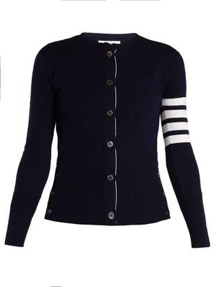 Thom Browne Round Neck Cashmere Cardigan - Womens - Navy White