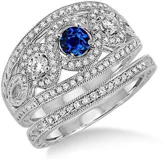 Trilogy JeenJewels 2 Carat Sapphire and Diamond set Ring on 10k White Gold