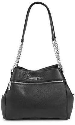 Karl Lagerfeld PARIS Bouquet Pebbled Leather Hobo Bag