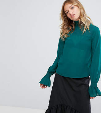 Monki Ruffle Neck And Sleeve Blouse