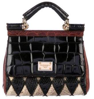 Dolce & Gabbana Crocodile-Trimmed Patchwork Snakeskin Mini Miss Sicily Bag