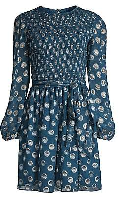 Shoshanna Women's Walker Smocked Grommet Print Balloon-Sleeve A-Line Dress - Size 0
