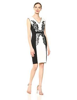 Tadashi Shoji Women's SLVLESS Neoprene Dress W/Sequin DTL, Ivory/Black, L