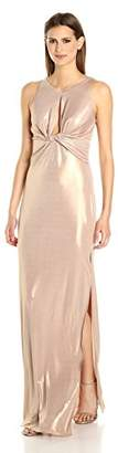 Halston Women's Sleeveless Round Neck Metallic Jersey Gown Front Keyhole Champagne