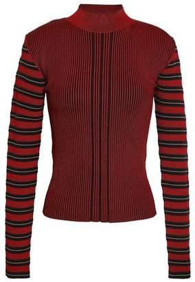 McQ Striped Metallic Ribbed-knit Top