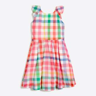 J.Crew Factory Girls' ruffle dress in rainbow gingham