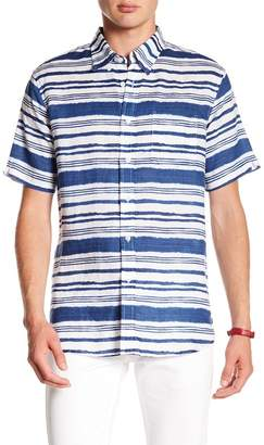 Jachs Striped Short Sleeve Classic Fit Linen Shirt