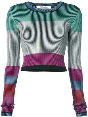 Diane von Furstenberg colour blocked crop top
