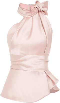 Brandon Maxwell Bow-Embellished Satin Top
