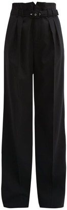 RED Valentino Belted Paperbag Waist Pleated Trousers - Womens - Black