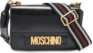 Moschino Lettering Shoulder Flap Bag in Black Deerskin