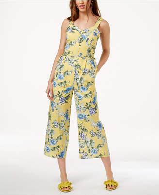 J.o.a. Floral-Print Lace-Up Jumpsuit