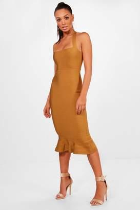 boohoo Boutique Bandage Peplum Hem Midi Dress