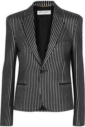 Saint Laurent Metallic Striped Twill Blazer - Silver