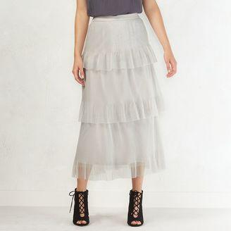 Women's LC Lauren Conrad Tiered Tulle Midi Skirt $60 thestylecure.com
