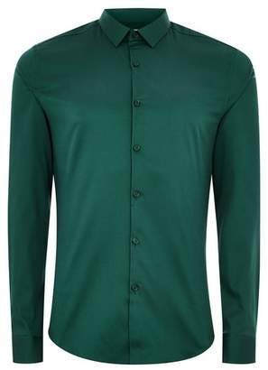 Topman Mens Premium Forest Green Slim Smart Shirt