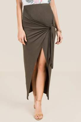 Franesca's Flora Tie Front Wrap Skirt - Dark Olive