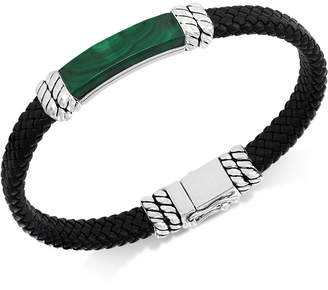 Effy Men Lapis Lazuli Leather Braided Bracelet in Sterling Silver (Also in Malachite or Onyx)